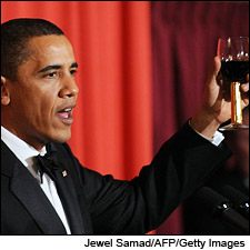 """President Obama accepts both the Nobel Peace Prize and a glass of Robert Mondavi Cabernet."" Winespectator.com. I achieved peace by giving the wine back."