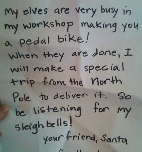 A handwriting analyst would nail Santa as a kind, patient, tired, right-handed forty-five year old woman.