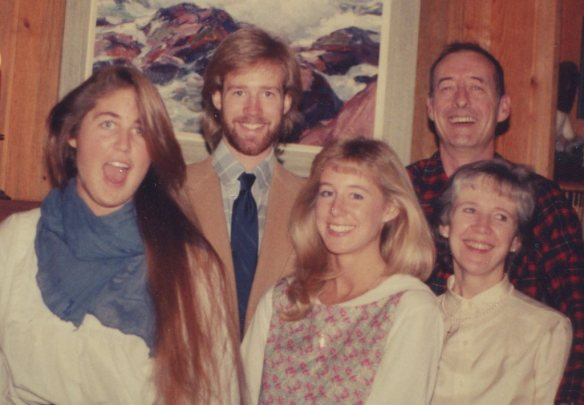 Mom was slipping gracefully into gray; The Andrews, c. 1988. Dad was sliding down his dune of dudeness. David's hair had definitely hit an apogee, Susan remained a natural blonde for fifteen more years and I...wall, I still havent learned to shut my mouth.