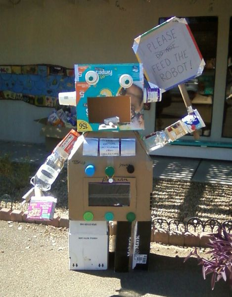 It is very cool to have a hungry robot bigger than yourself greet you at school!
